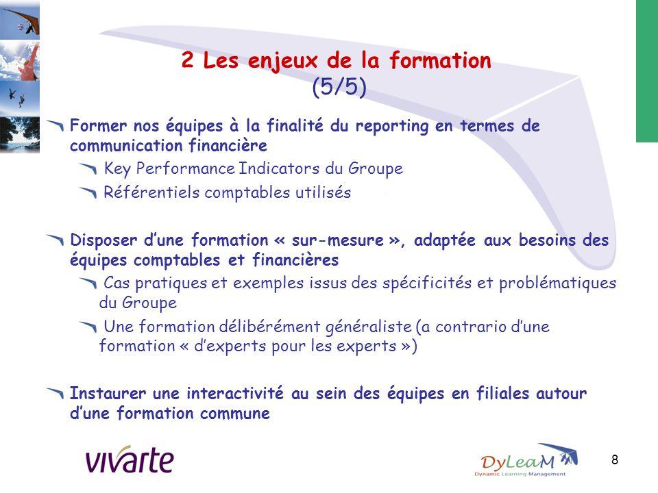 2 Les enjeux de la formation (5/5) Former nos équipes à la finalité du reporting en termes de communication financière Key Performance Indicators du G