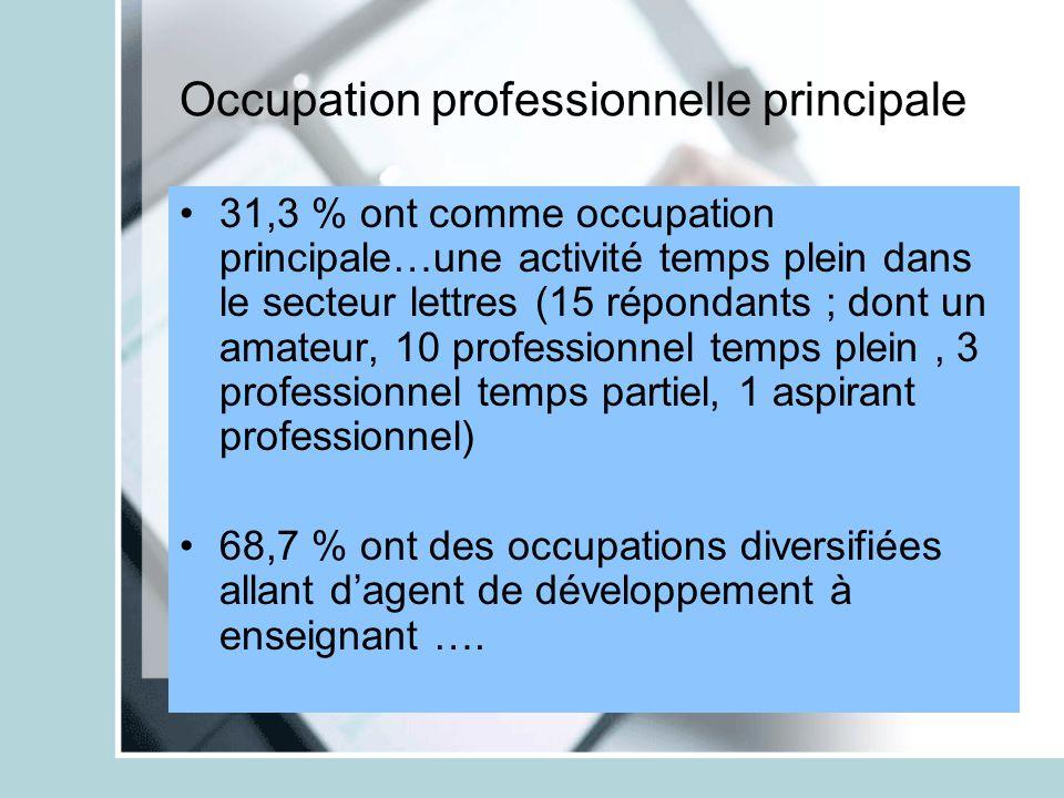 Occupation professionnelle principale 31,3 % ont comme occupation principale…une activité temps plein dans le secteur lettres (15 répondants ; dont un