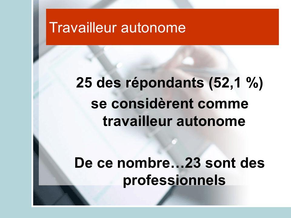 Travailleur autonome 25 des répondants (52,1 %) se considèrent comme travailleur autonome De ce nombre…23 sont des professionnels