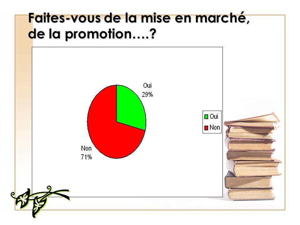 Faites-vous de la mise en marché, de la promotion….?