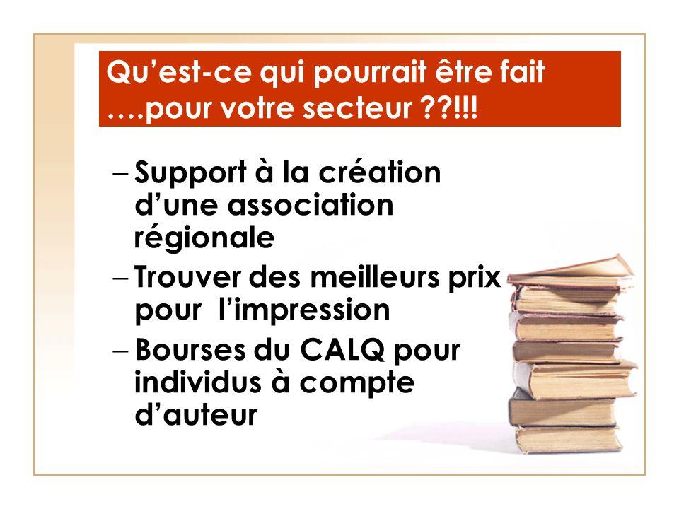 Qu'est-ce qui pourrait être fait ….pour votre secteur ??!!! – Support à la création d'une association régionale – Trouver des meilleurs prix pour l'im