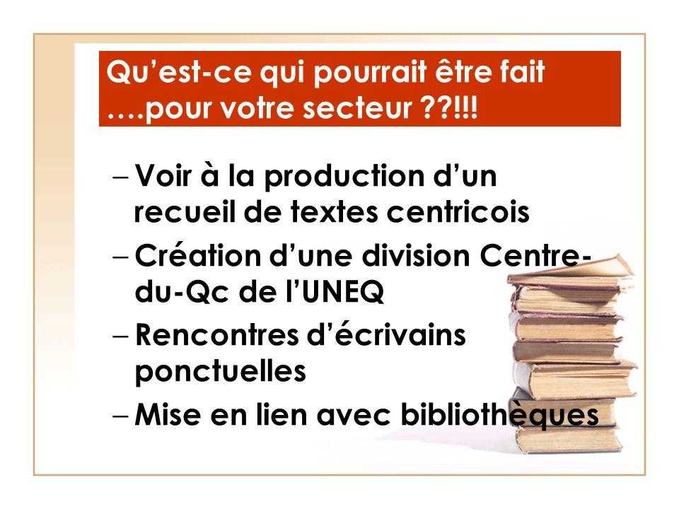 Qu'est-ce qui pourrait être fait ….pour votre secteur ??!!! – Voir à la production d'un recueil de textes centricois – Création d'une division Centre-