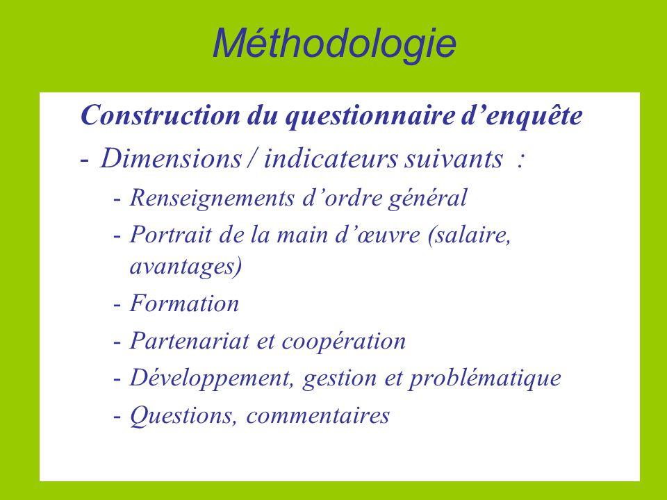 Méthodologie Construction du questionnaire d'enquête -Dimensions / indicateurs suivants : -Renseignements d'ordre général -Portrait de la main d'œuvre