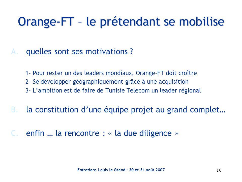 Entretiens Louis le Grand – 30 et 31 août 2007 10 Orange-FT – le prétendant se mobilise A.quelles sont ses motivations .