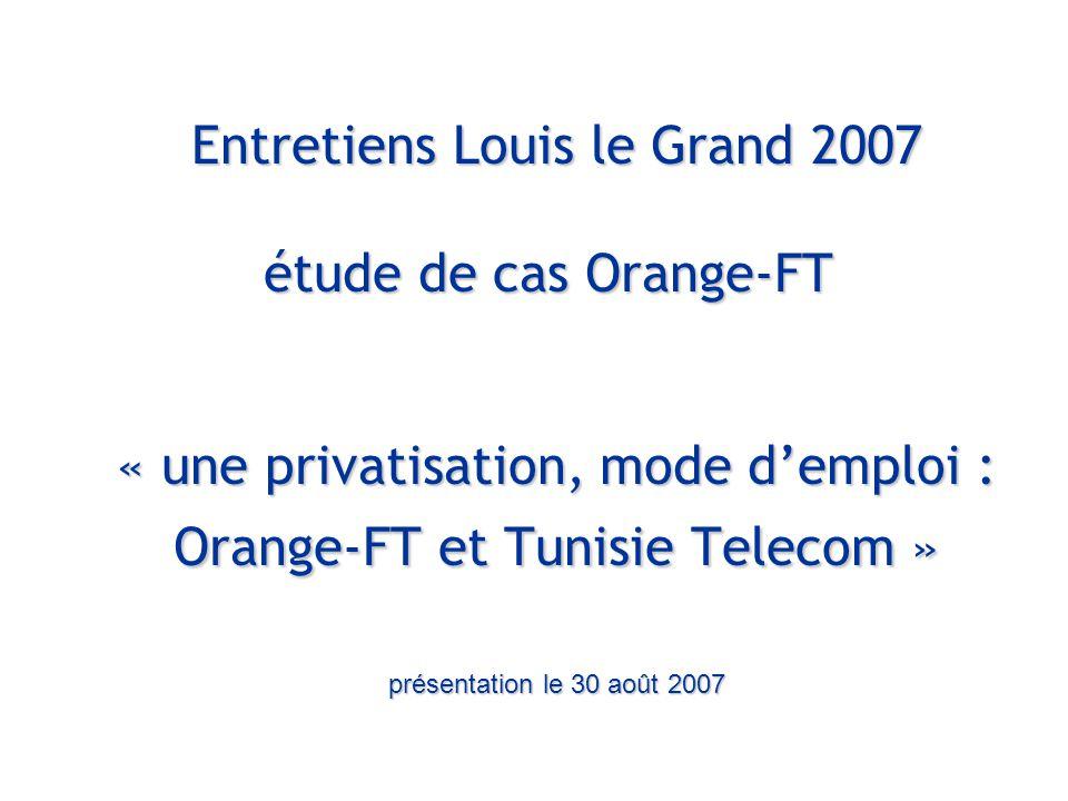 Entretiens Louis le Grand – 30 et 31 août 2007 4 Introduction : les acteurs Tunisie Telecom : opérateur national des télécoms Données 2005  8 000 salariés  C.A.