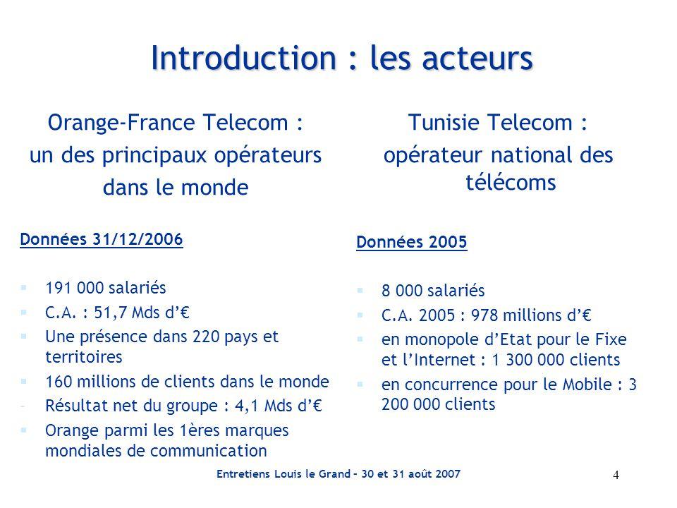 Entretiens Louis le Grand – 30 et 31 août 2007 5 Orange-FT, 1 er opérateur intégré en Europe parc clients dans les sociétés consolidées au 31/12/06 Royaume-Uni mobile : 15,33 millions internet : 1,73 million France mobile : 23,27 millions fixe : 33,87 millions internet : 6,88 millions Espagne mobile : 11,11 millions fixe : 2,80 millions internet : 1,01 million Belgique mobile : 3,14 millions fixe : 0,58 million Pays-Bas mobile : 2,05 millions internet : 0,55 million Pologne mobile : 12,52 millions fixe : 10,13 millions internet : 2 million Suisse mobile : 1,40 million Slovaquie mobile : 2,70 millions Roumanie mobile : 8,04 millions Moldavie mobile : 0,87 million mobile internet fixe