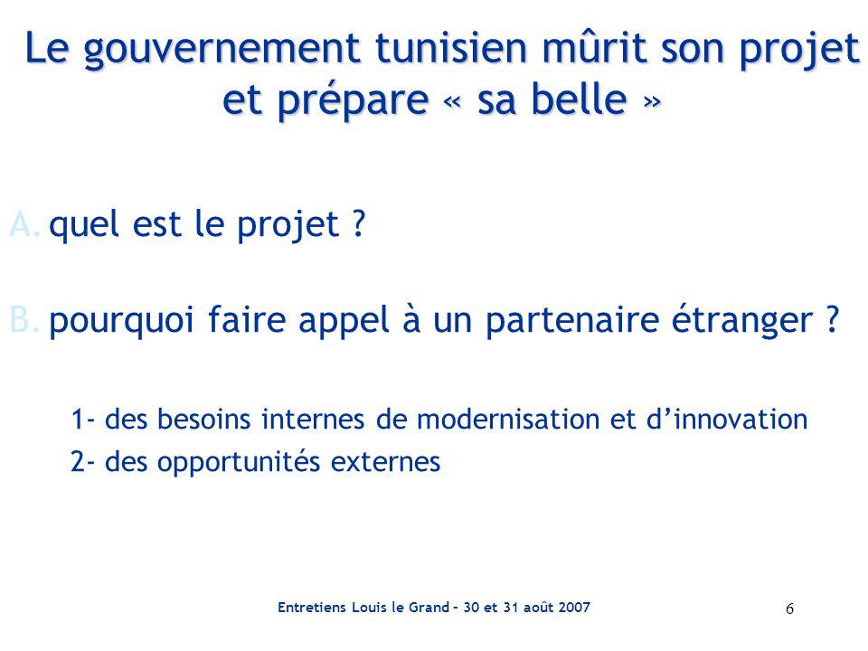 Entretiens Louis le Grand – 30 et 31 août 2007 7 Le gouvernement tunisien mûrit son projet et prépare « sa belle » C.l'entreprise nationale commence sa mue 1- Le gouvernement organise une commission de privatisation 2- Un « relookage » de l'entreprise 3- L'entreprise change de statut Résultat : La phase préliminaire est achevée, l'info-mémo (l'information mémorandum) est constitué, les statuts sont transformés, le gouvernement peut faire son offre.