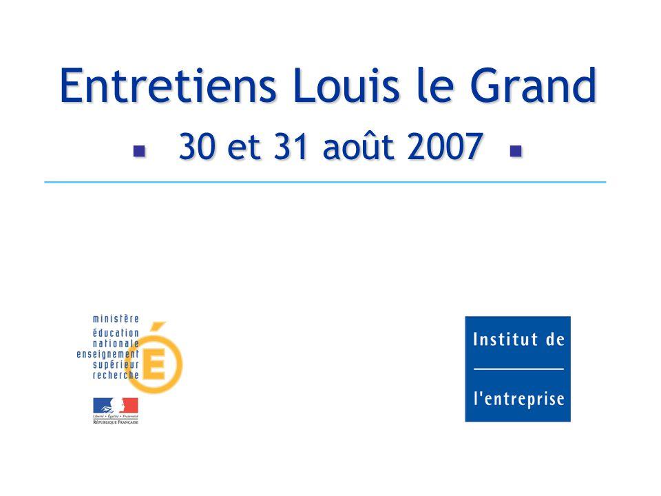 Entretiens Louis le Grand  30 et 31 août 2007 