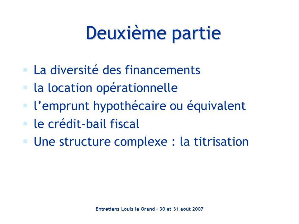 Entretiens Louis le Grand – 30 et 31 août 2007  La diversité des financements  la location opérationnelle  l'emprunt hypothécaire ou équivalent  l