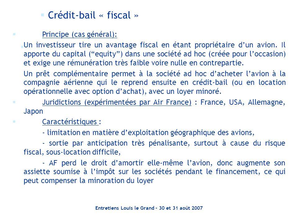 Entretiens Louis le Grand – 30 et 31 août 2007   Crédit-bail « fiscal »   Principe (cas général): Un investisseur tire un avantage fiscal en étant