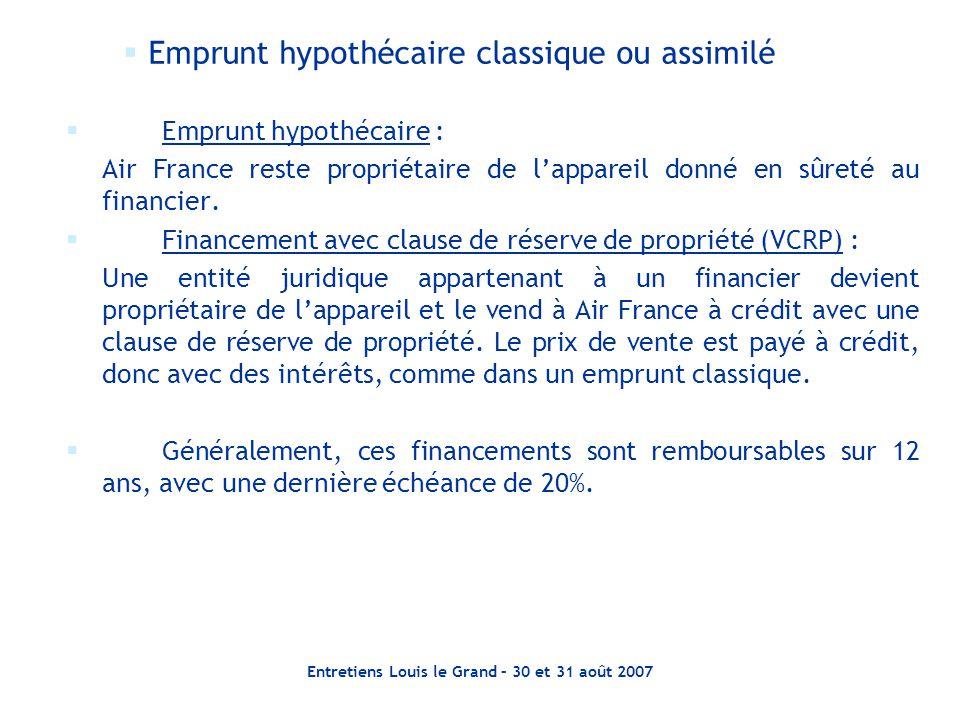 Entretiens Louis le Grand – 30 et 31 août 2007  Emprunt hypothécaire : Air France reste propriétaire de l'appareil donné en sûreté au financier.  Fi