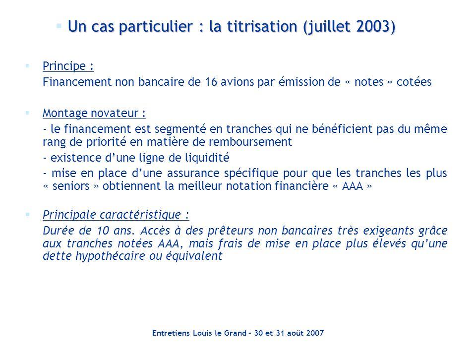 Entretiens Louis le Grand – 30 et 31 août 2007  Principe : Financement non bancaire de 16 avions par émission de « notes » cotées  Montage novateur