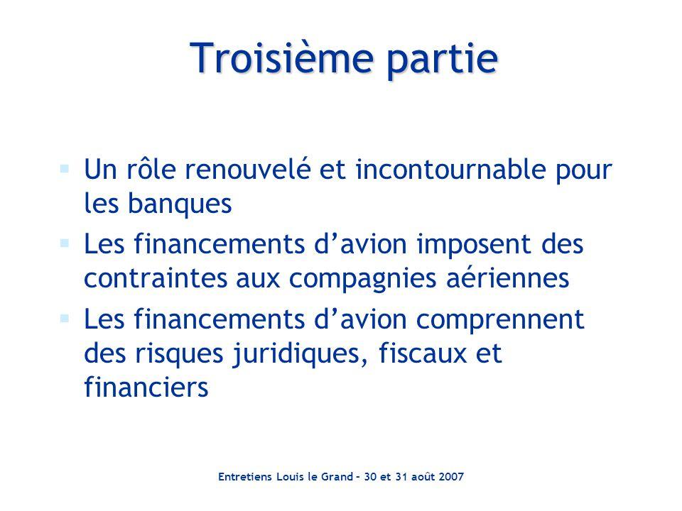 Entretiens Louis le Grand – 30 et 31 août 2007 Troisième partie  Un rôle renouvelé et incontournable pour les banques  Les financements d'avion impo