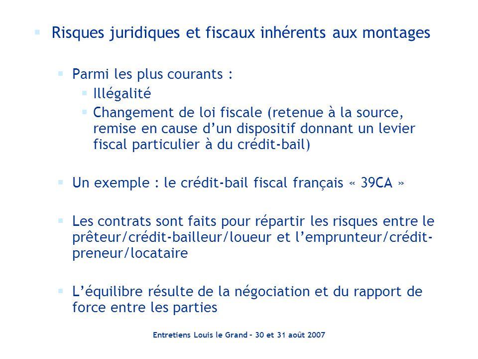 Entretiens Louis le Grand – 30 et 31 août 2007  Risques juridiques et fiscaux inhérents aux montages  Parmi les plus courants :  Illégalité  Chang