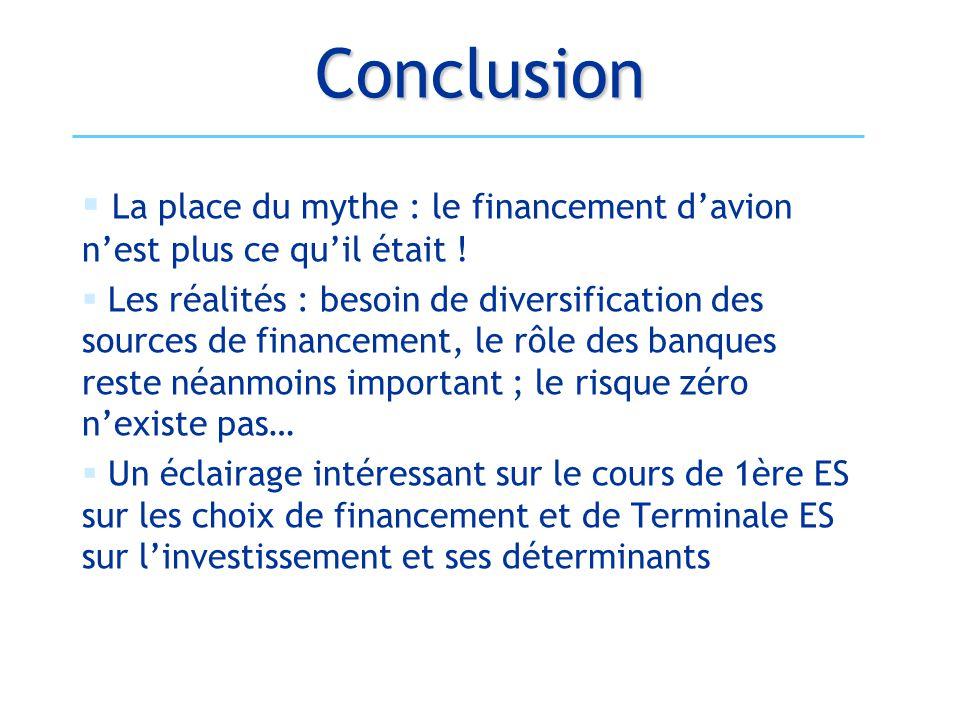 Conclusion  La place du mythe : le financement d'avion n'est plus ce qu'il était !  Les réalités : besoin de diversification des sources de financem