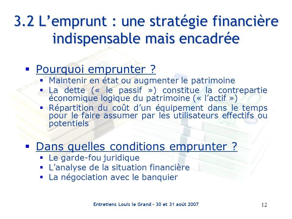 12 Entretiens Louis le Grand – 30 et 31 août 2007 3.2 L'emprunt : une stratégie financière indispensable mais encadrée  Pourquoi emprunter .