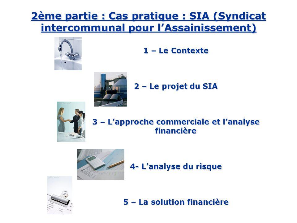 1 – Le Contexte 2 – Le projet du SIA 3 – L'approche commerciale et l'analyse financière 4- L'analyse du risque 5 – La solution financière 1 – Le Contexte 2 – Le projet du SIA 3 – L'approche commerciale et l'analyse financière 4- L'analyse du risque 5 – La solution financière 2ème partie : Cas pratique : SIA (Syndicat intercommunal pour l'Assainissement)