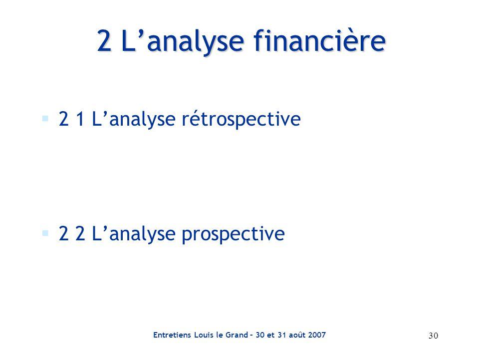30 Entretiens Louis le Grand – 30 et 31 août 2007 2 L'analyse financière  2 1 L'analyse rétrospective  2 2 L'analyse prospective