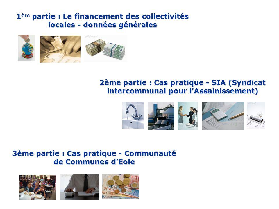 1 ère partie : Le financement des collectivités locales - données générales 2ème partie : Cas pratique - SIA (Syndicat intercommunal pour l'Assainissement) 3ème partie : Cas pratique - Communauté de Communes d'Eole