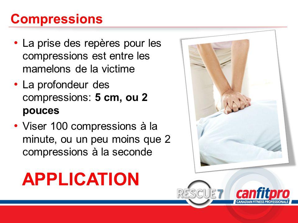 CPR Course Level 1 Compressions La prise des repères pour les compressions est entre les mamelons de la victime La profondeur des compressions: 5 cm,