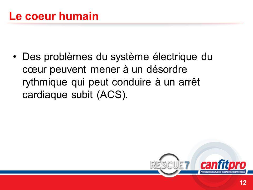 CPR Course Level 1 Le coeur humain Des problèmes du système électrique du cœur peuvent mener à un désordre rythmique qui peut conduire à un arrêt cardiaque subit (ACS).