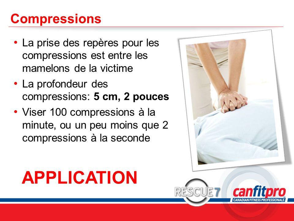 CPR Course Level 1 Compressions La prise des repères pour les compressions est entre les mamelons de la victime La profondeur des compressions: 5 cm, 2 pouces Viser 100 compressions à la minute, ou un peu moins que 2 compressions à la seconde APPLICATION
