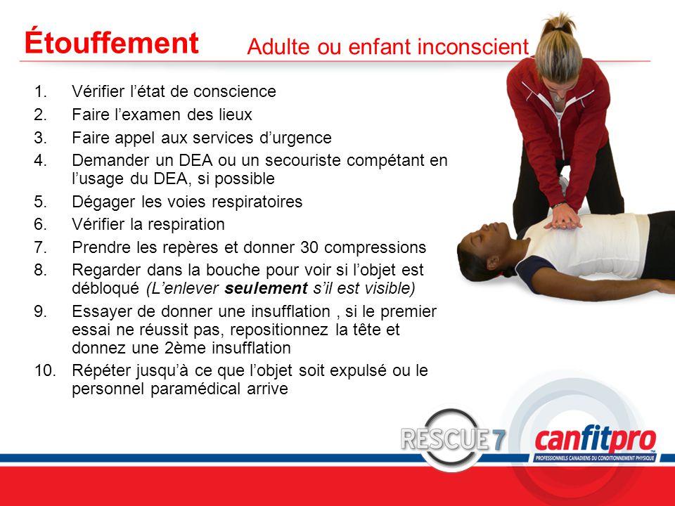 CPR Course Level 1 Étouffement 1.Vérifier l'état de conscience 2.Faire l'examen des lieux 3.Faire appel aux services d'urgence 4.Demander un DEA ou un secouriste compétant en l'usage du DEA, si possible 5.Dégager les voies respiratoires 6.Vérifier la respiration 7.Prendre les repères et donner 30 compressions 8.Regarder dans la bouche pour voir si l'objet est débloqué (L'enlever seulement s'il est visible) 9.Essayer de donner une insufflation, si le premier essai ne réussit pas, repositionnez la tête et donnez une 2ème insufflation 10.Répéter jusqu'à ce que l'objet soit expulsé ou le personnel paramédical arrive Adulte ou enfant inconscient