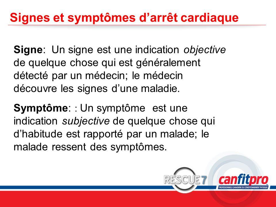 CPR Course Level 1 Signes et symptômes d'arrêt cardiaque Signe: Un signe est une indication objective de quelque chose qui est généralement détecté par un médecin; le médecin découvre les signes d'une maladie.