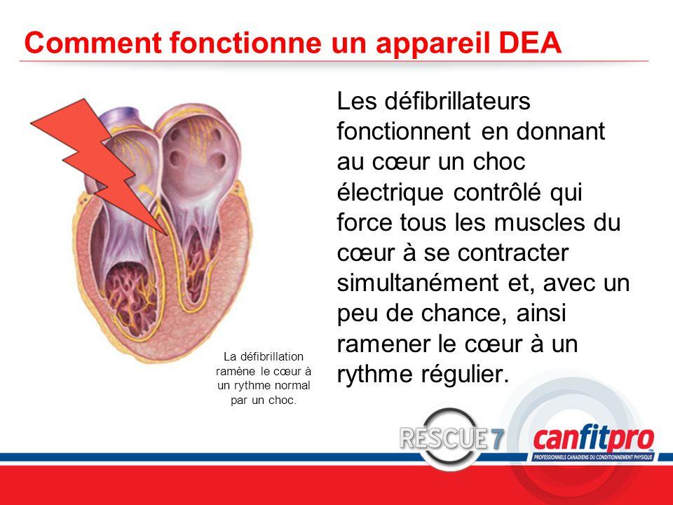 CPR Course Level 1 Comment fonctionne un appareil DEA Les défibrillateurs fonctionnent en donnant au cœur un choc électrique contrôlé qui force tous les muscles du cœur à se contracter simultanément et, avec un peu de chance, ainsi ramener le cœur à un rythme régulier.