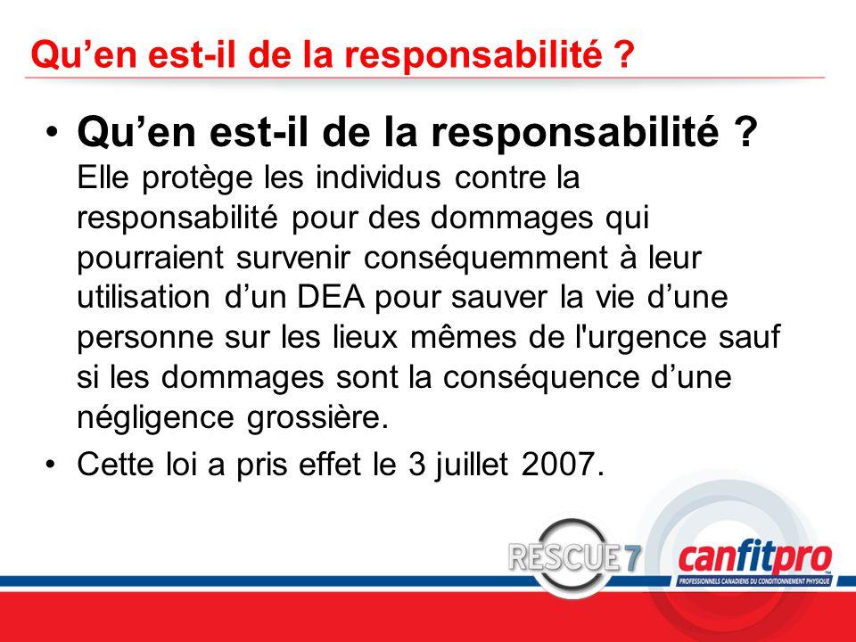 CPR Course Level 1 Qu'en est-il de la responsabilité .