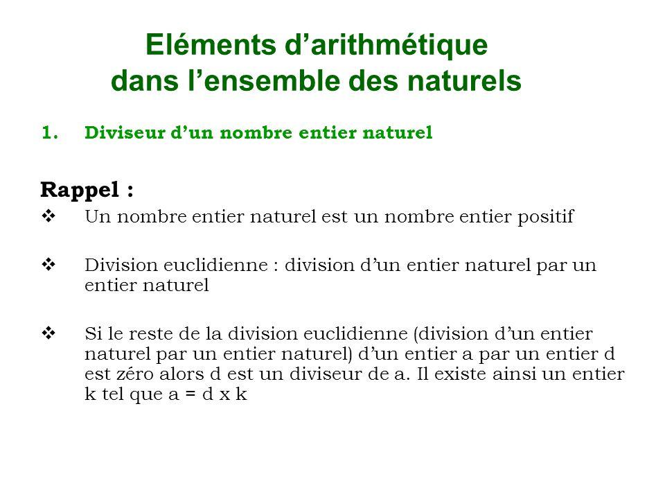 Eléments d'arithmétique dans l'ensemble des naturels 1.Diviseur d'un nombre entier naturel Rappel :  Un nombre entier naturel est un nombre entier po