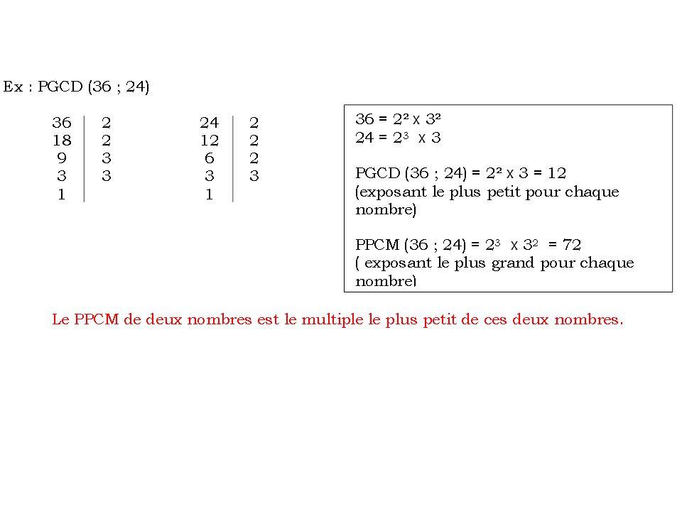 d) Nombres premiers entre eux  On dit que deux nombres a et b sont premiers entre eux lorsque leur PGCD est égal à 1.
