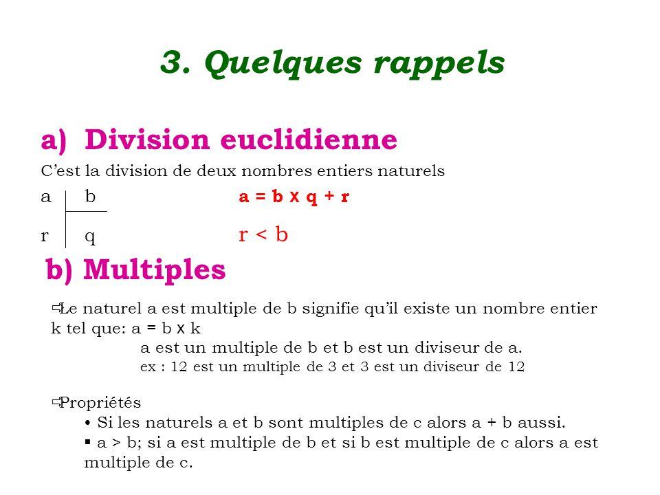 3. Quelques rappels a)Division euclidienne C'est la division de deux nombres entiers naturels ab a = b x q + r rq r < b b) Multiples  Le naturel a es
