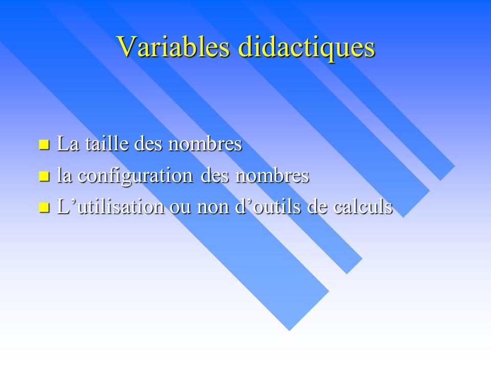 Variables didactiques n La taille des nombres n la configuration des nombres n L'utilisation ou non d'outils de calculs