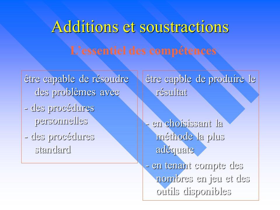 Additions et soustractions être capable de résoudre des problèmes avec - des procédures personnelles - des procédures standard être capble de produire