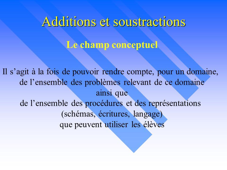Additions et soustractions Le champ conceptuel Il s'agit à la fois de pouvoir rendre compte, pour un domaine, de l'ensemble des problèmes relevant de