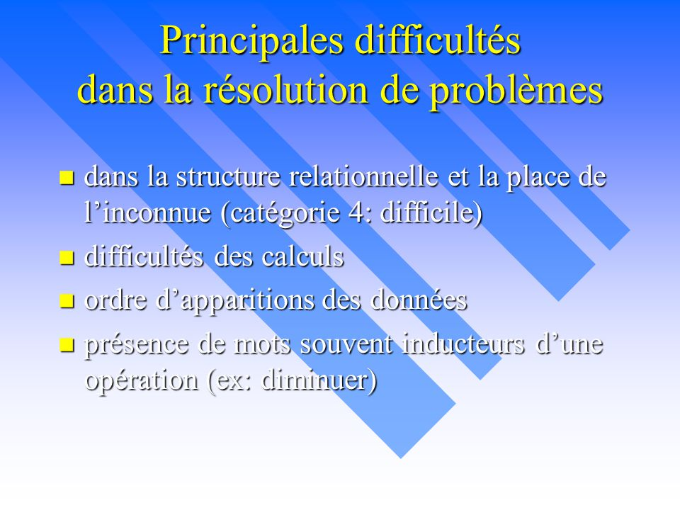 Principales difficultés dans la résolution de problèmes n dans la structure relationnelle et la place de l'inconnue (catégorie 4: difficile) n difficu