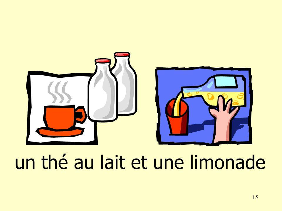 14 un café au lait et une bière