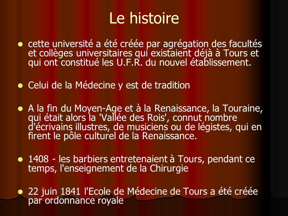 Le histoire cette université a été créée par agrégation des facultés et collèges universitaires qui existaient déjà à Tours et qui ont constitué les U.F.R.