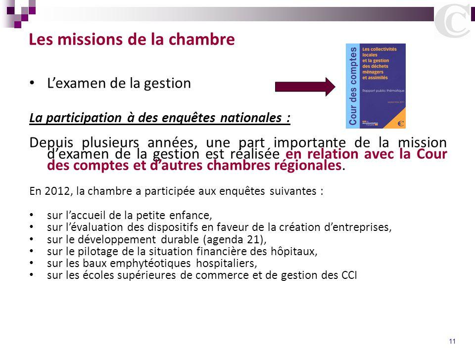 11 Les missions de la chambre L'examen de la gestion La participation à des enquêtes nationales : Depuis plusieurs années, une part importante de la m