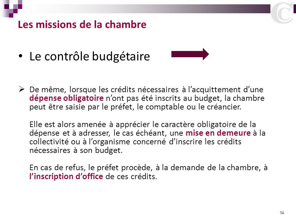 14 Les missions de la chambre Le contrôle budgétaire  De même, lorsque les crédits nécessaires à l'acquittement d'une dépense obligatoire n'ont pas é