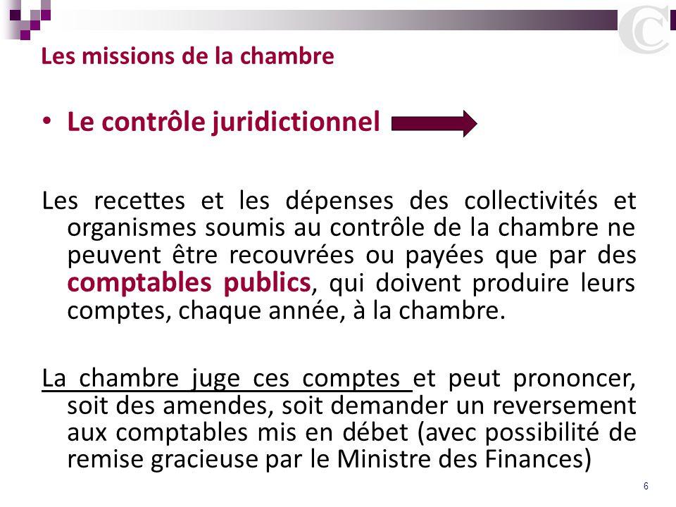 6 Les missions de la chambre Le contrôle juridictionnel Les recettes et les dépenses des collectivités et organismes soumis au contrôle de la chambre