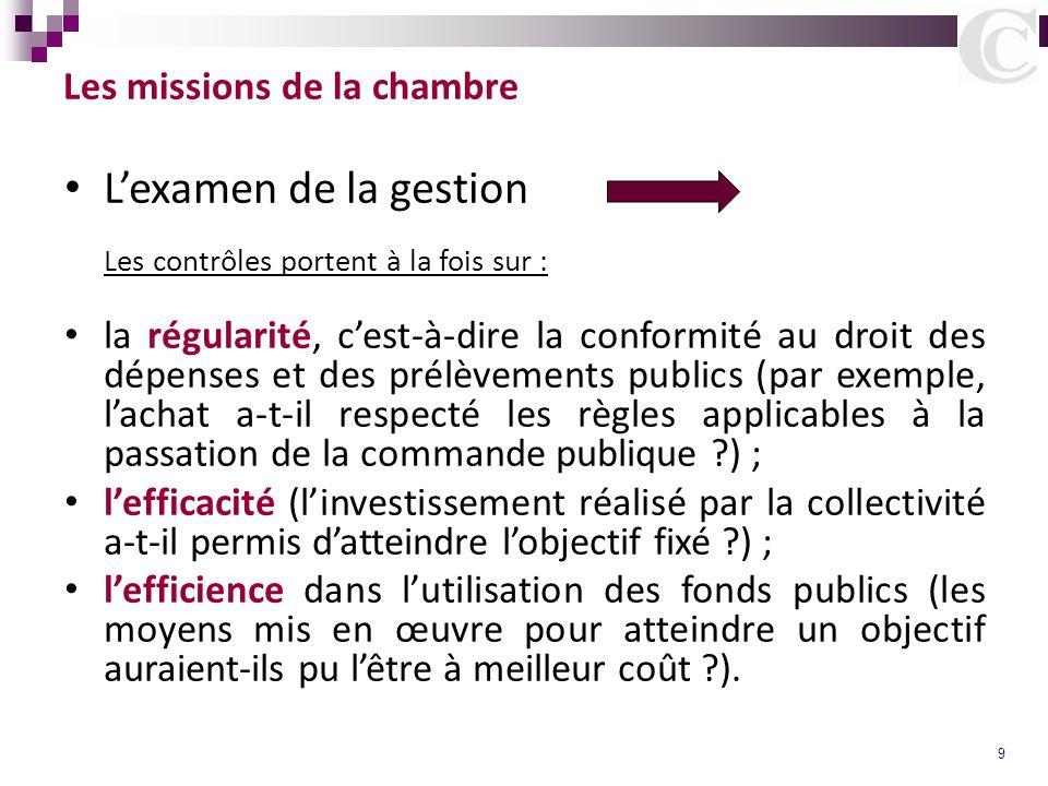 9 Les missions de la chambre L'examen de la gestion Les contrôles portent à la fois sur : la régularité, c'est-à-dire la conformité au droit des dépen