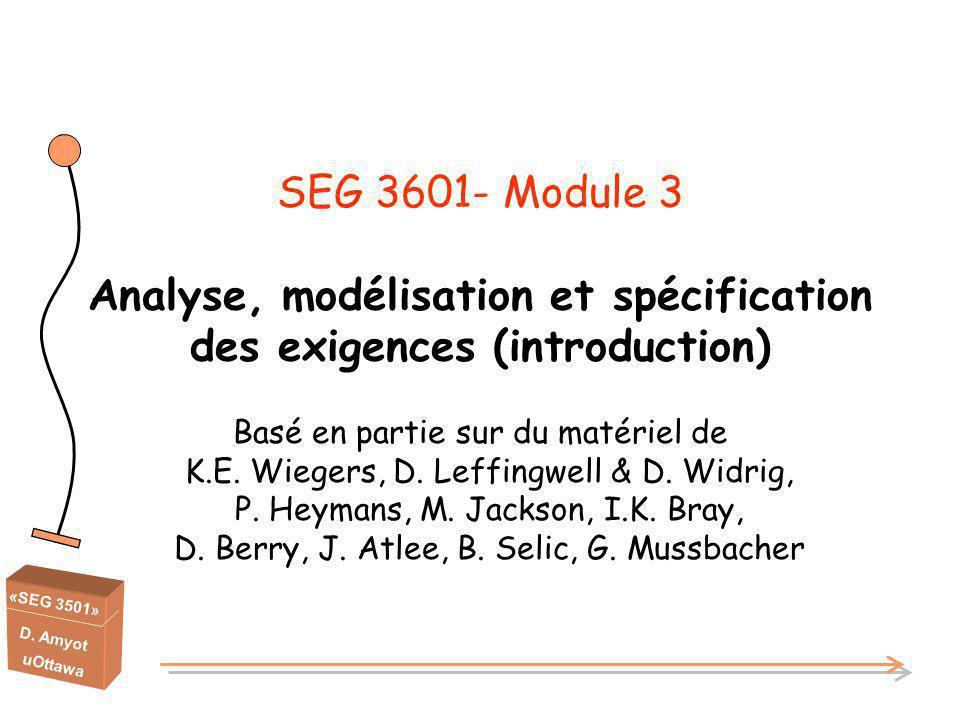 «SEG 3501» D. Amyot uOttawa SEG 3601- Module 3 Analyse, modélisation et spécification des exigences (introduction) Basé en partie sur du matériel de K