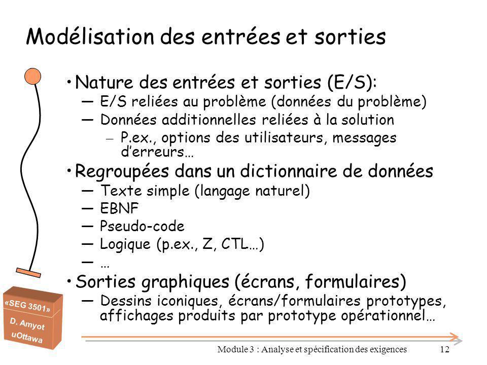 «SEG 3501» D. Amyot uOttawa Modélisation des entrées et sorties Nature des entrées et sorties (E/S): ―E/S reliées au problème (données du problème) ―D