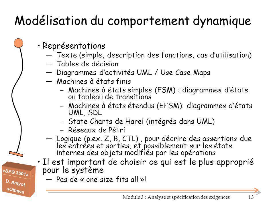 «SEG 3501» D. Amyot uOttawa Modélisation du comportement dynamique Représentations ―Texte (simple, description des fonctions, cas d'utilisation) ―Tabl