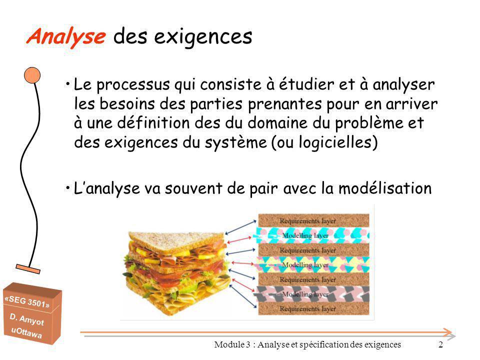 «SEG 3501» D. Amyot uOttawa Module 3 : Analyse et spécification des exigences2 Analyse des exigences Le processus qui consiste à étudier et à analyser