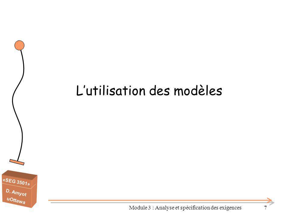 «SEG 3501» D. Amyot uOttawa L'utilisation des modèles Module 3 : Analyse et spécification des exigences7