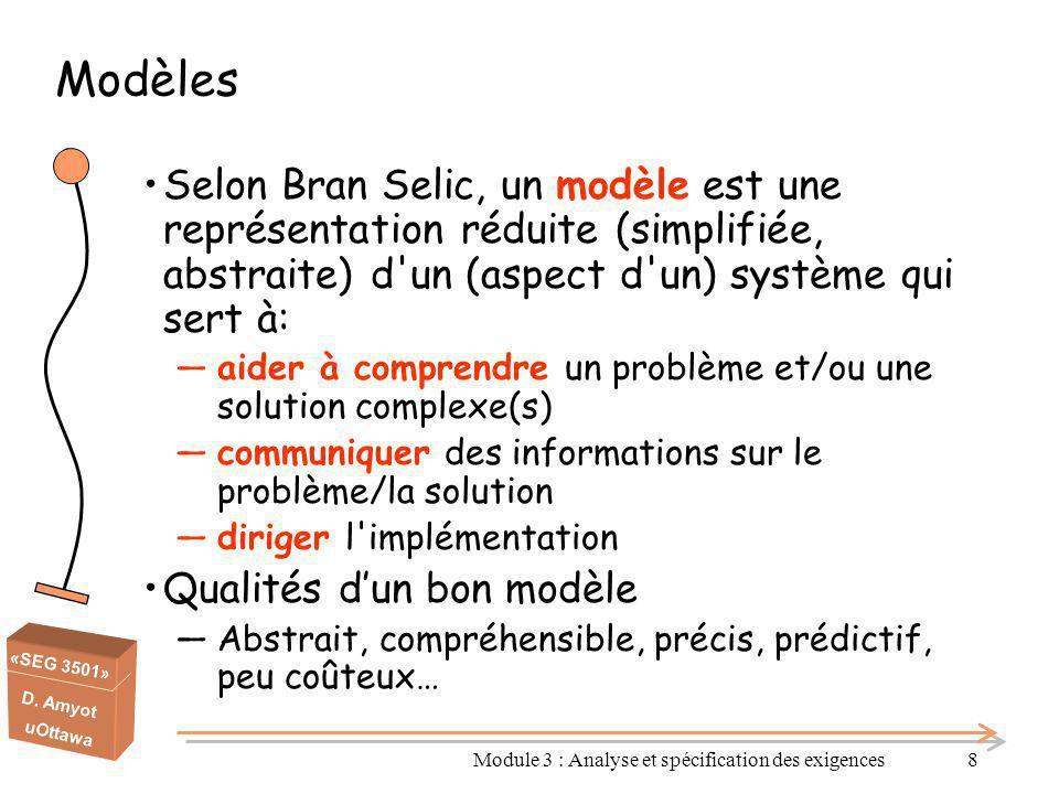 «SEG 3501» D. Amyot uOttawa Module 3 : Analyse et spécification des exigences8 Selon Bran Selic, un modèle est une représentation réduite (simplifiée,