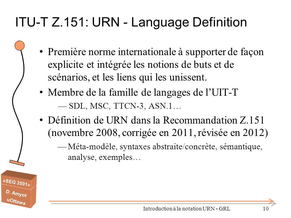 «SEG 3501» D. Amyot uOttawa ITU-T Z.151: URN - Language Definition Première norme internationale à supporter de façon explicite et intégrée les notion